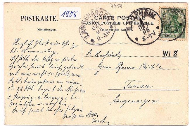 Laupheim, Kath. Vereinshaus (Rückseite der Ansichtskarte)