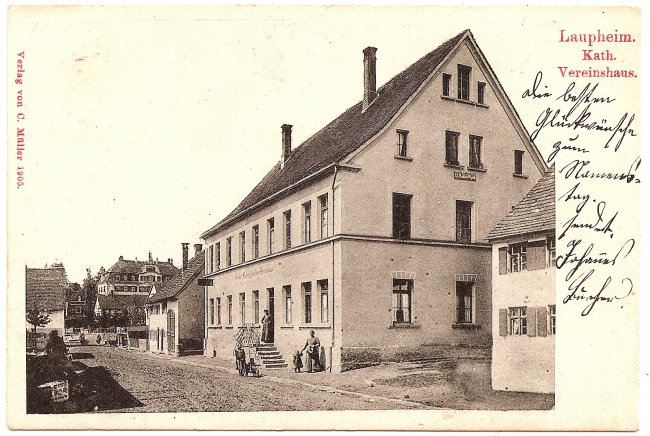 Laupheim, Kath. Vereinshaus (Vorderseite der Ansichtskarte)