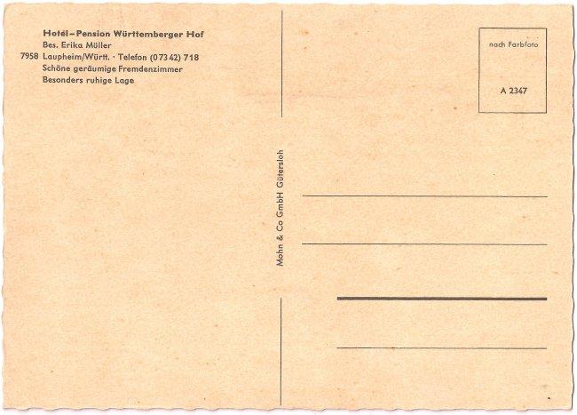 Hotel-Pension Württemberger Hof (Rückseite der Ansichtskarte)