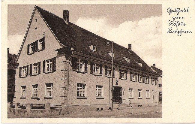 Gasthaus zum Rößle, Laupheim (Vorderseite der Ansichtskarte)