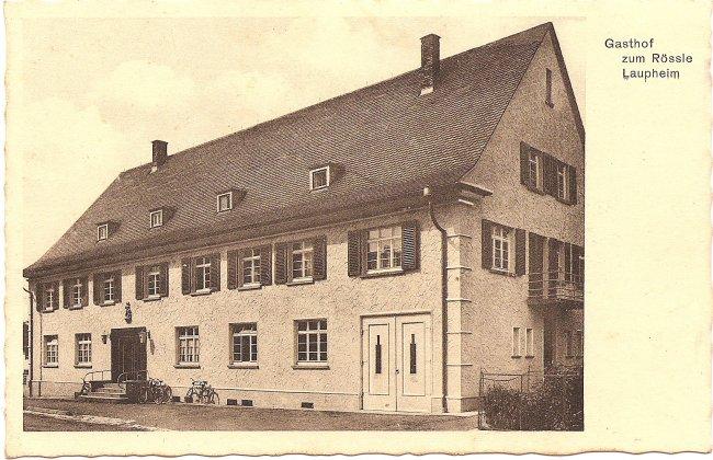 Gasthof zum Rössle, Laupheim (Vorderseite der Ansichtskarte)