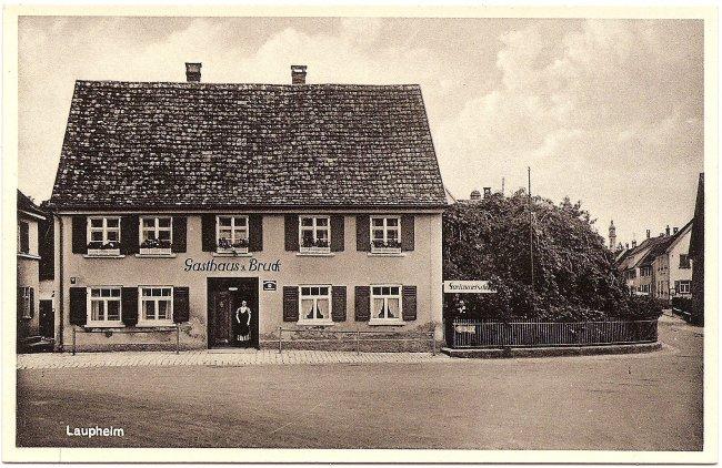 Laupheim, Gasthaus zur Bruck (Vorderseite der Ansichtskarte)