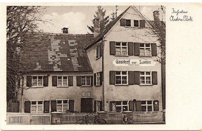 Gasthof zur Sonne (Vorderseite der Ansichtskarte)