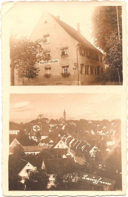 Laupheim, Gasthof zur Traube (Vorderseite der Ansichtskarte)