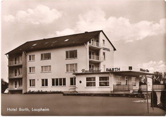 Hotel Barth, Laupheim (Vorderseite der Ansichtskarte)