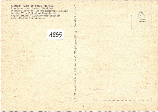 Gasthof zum Mohren (Rückseite der Ansichtskarte)