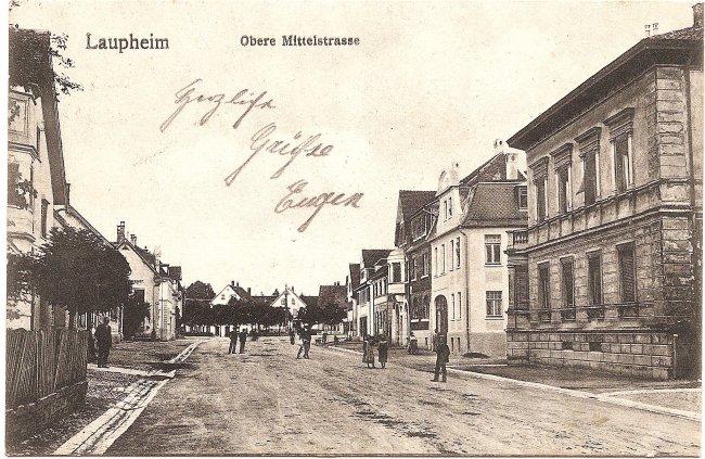 Laupheim, Obere Mittelstraße (Vorderseite der Ansichtskarte)
