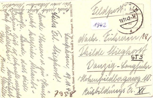 Laupheim, Adolf-Hitler-Straße (Rückseite der Ansichtskarte)