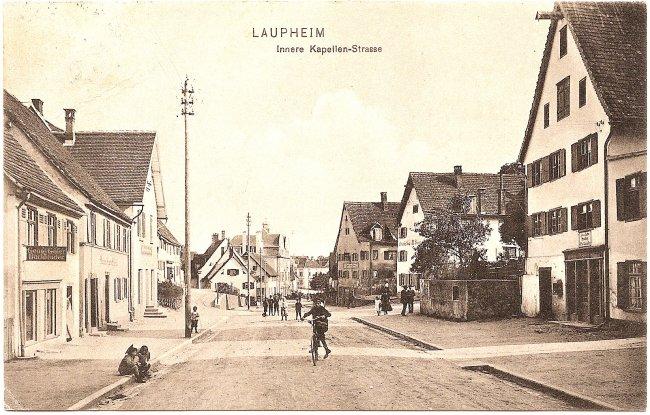 Laupheim, Innere Kapellen-Strasse (Vorderseite der Ansichtskarte)