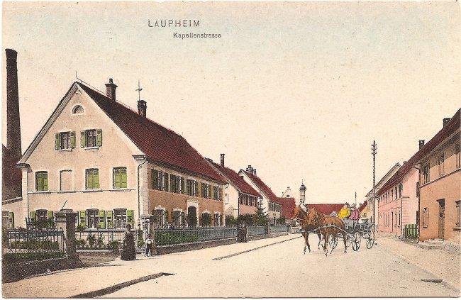 Laupheim, Kapellenstraße (Vorderseite der Ansichtskarte)