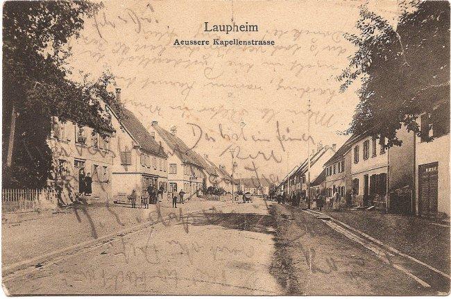 Laupheim, Aeussere Kapellenstrasse (Vorderseite der Ansichtskarte)