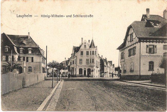 Laupheim, König-Wilhelm- und Schillerstraße (Vorderseite der Ansichtskarte)