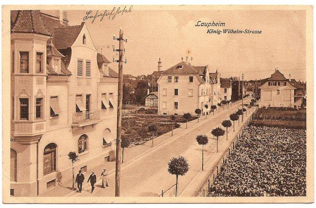 Laupheim, König-Wilhelm-Strasse (Vorderseite der Ansichtskarte)