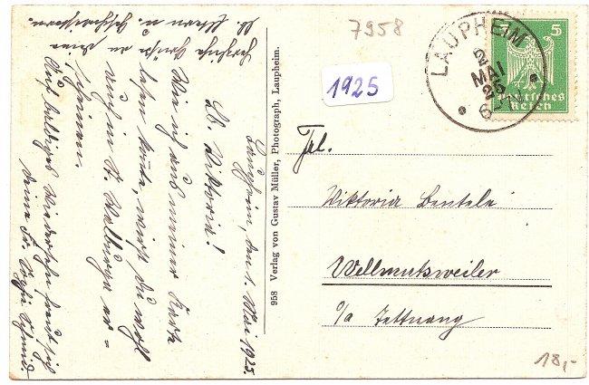 Laupheim - König-Wilhelm-Straße (Rückseite der Ansichtskarte)
