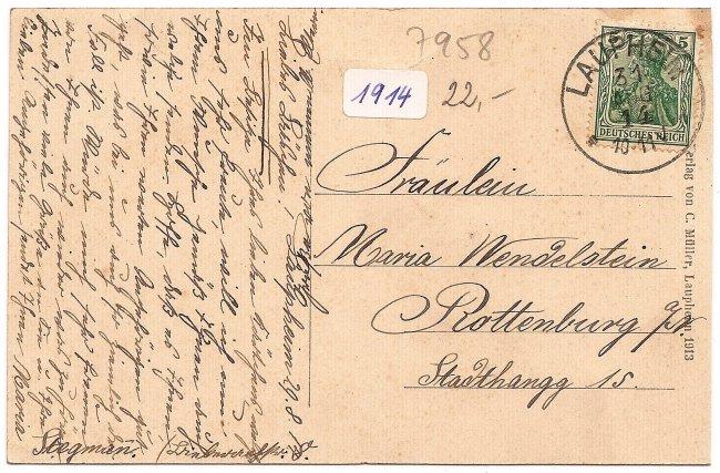 Laupheim, König-Wilhelmstraße (Rückseite der Ansichtskarte)