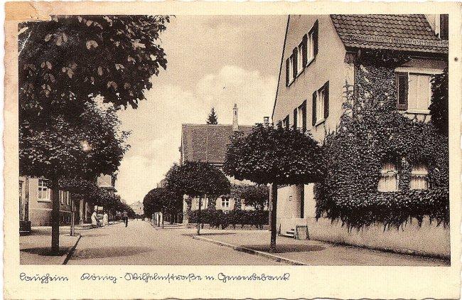 Laupheim, König-Wilhelmstraße m. Gewerbebank (Vorderseite der Ansichtskarte)