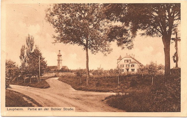 Laupheim, Partie an der Bühler Straße (Vorderseite der Ansichtskarte)