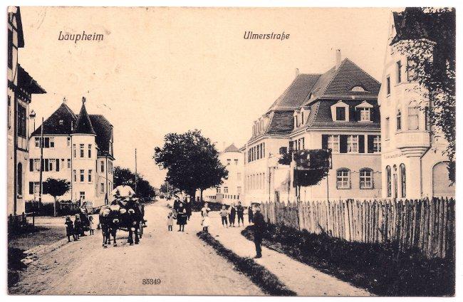Laupheim, Ulmerstraße (Vorderseite der Ansichtskarte)