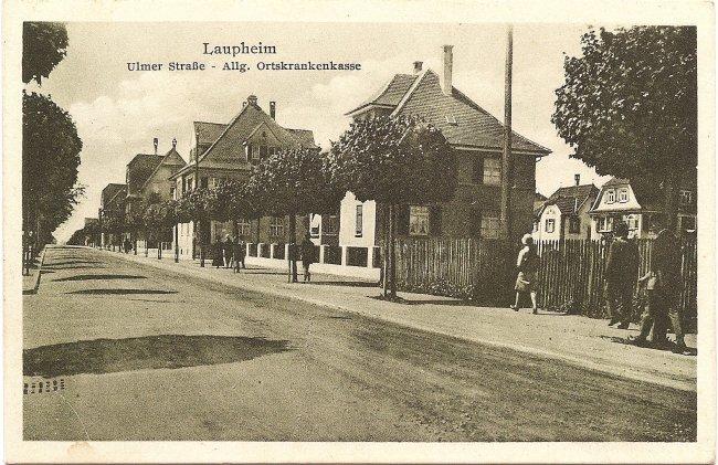Laupheim, Ulmer Straße - Allg. Ortskrankenkasse (Vorderseite der Ansichtskarte)