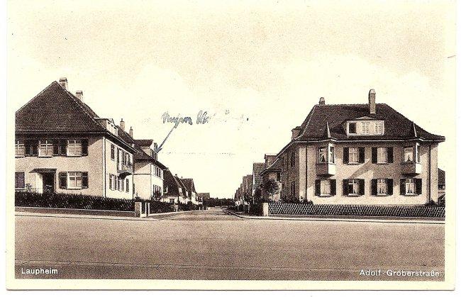 Laupheim, Adolf-Gröberstraße (Vorderseite der Ansichtskarte)