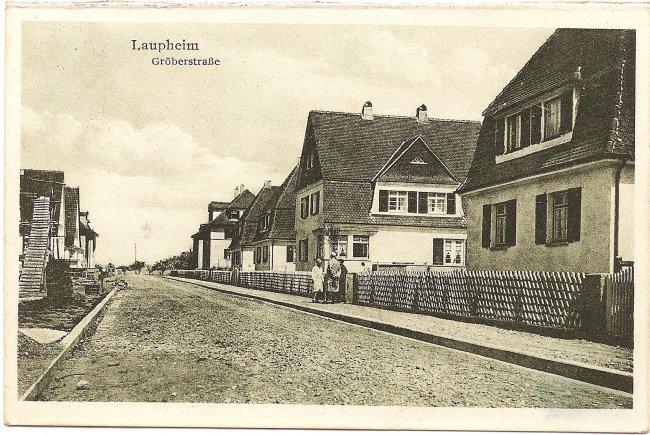 Laupheim, Gröberstraße (Vorderseite der Ansichtskarte)