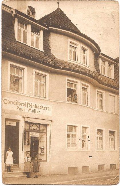 Coditorei Feinbäckerei Paul Müller (Vorderseite der Ansichtskarte)