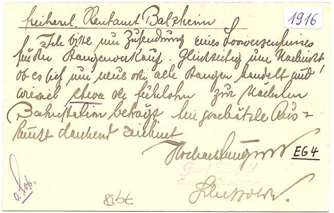 Laupheim, Zimmereigeschäft v.  Jos. Scheffold (Rückseite der Ansichtskarte)