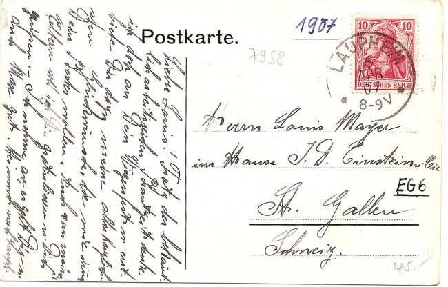 Haus Adler, Laupheim (Rückseite der Ansichtskarte)