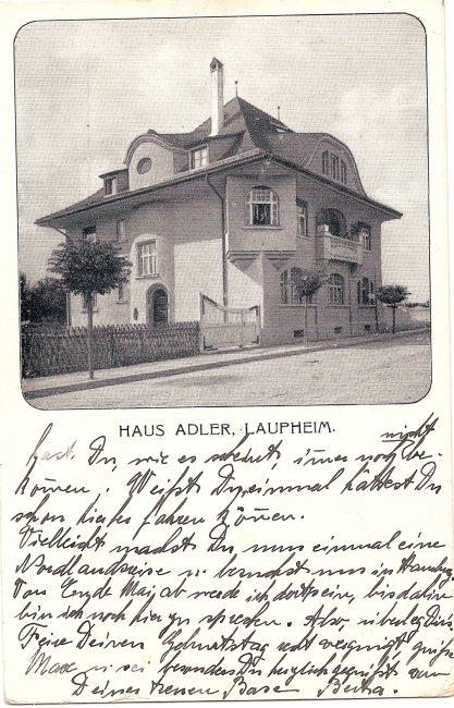 Haus Adler, Laupheim (Vorderseite der Ansichtskarte)