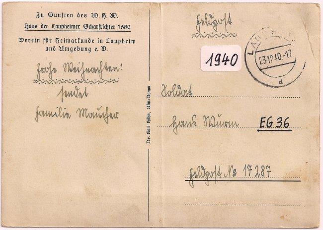 Haus des Laupheimer Scharfrichters (Rückseite der Ansichtskarte)