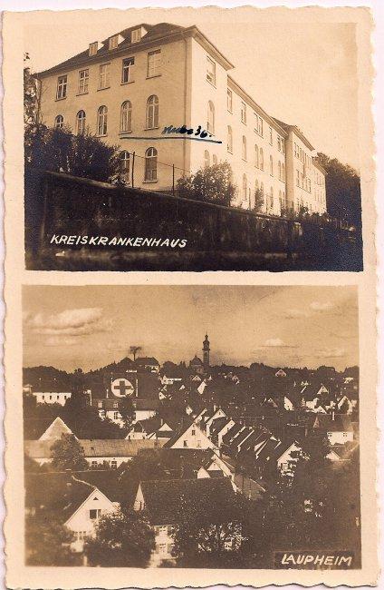 Kreiskrankenhaus Laupheim (Vorderseite der Ansichtskarte)
