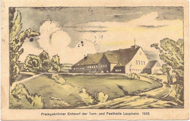 Entwurf der Turn- und Festhalle Laupheim (Vorderseite der Ansichtskarte)