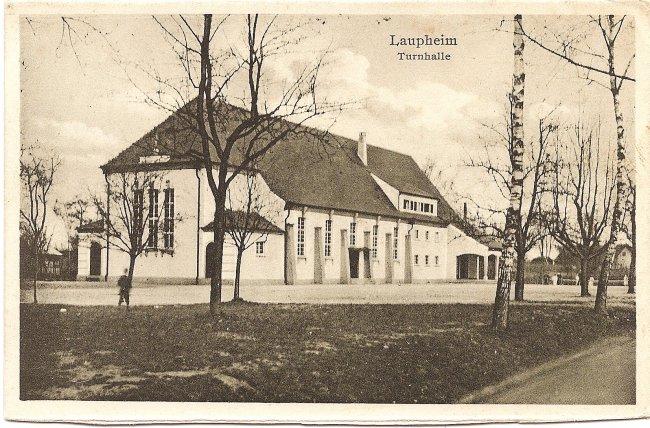 Laupheim, Turnhalle (Vorderseite der Ansichtskarte)