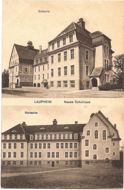 Laupheim, Neues Schulhaus (Vorderseite der Ansichtskarte)