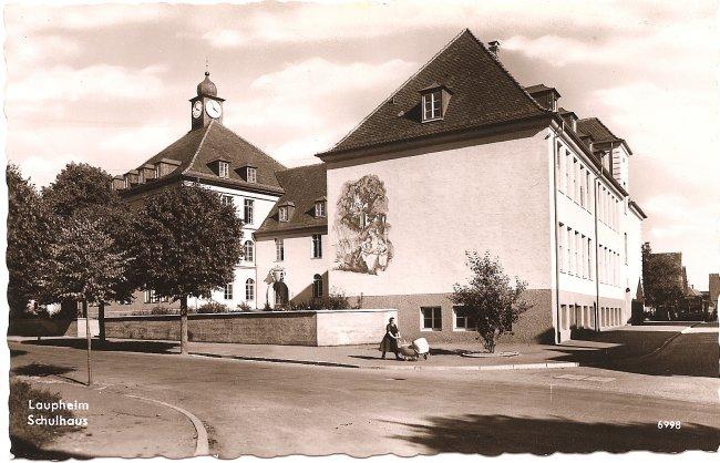 Laupheim, Schulhaus (Vorderseite der Ansichtskarte)