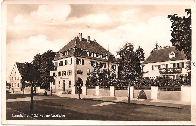 Laupheim, 7 Schwaben-Apotheke (Vorderseite der Ansichtskarte)