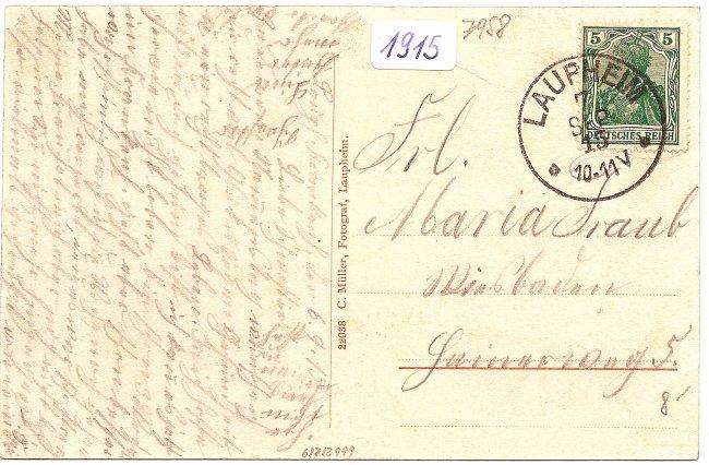 Laupheim, Bezirkskrankenhaus (Rückseite der Ansichtskarte)