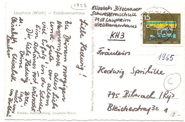 Laupheim (Württ.) - Kreiskrankenhaus (Rückseite der Ansichtskarte)