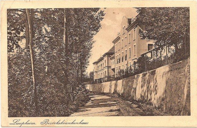 Laupheim, Bezirkskrankenhaus (Vorderseite der Ansichtskarte)