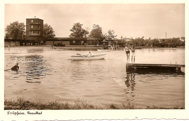 Laupheim, Strandbad (Vorderseite der Ansichtskarte)