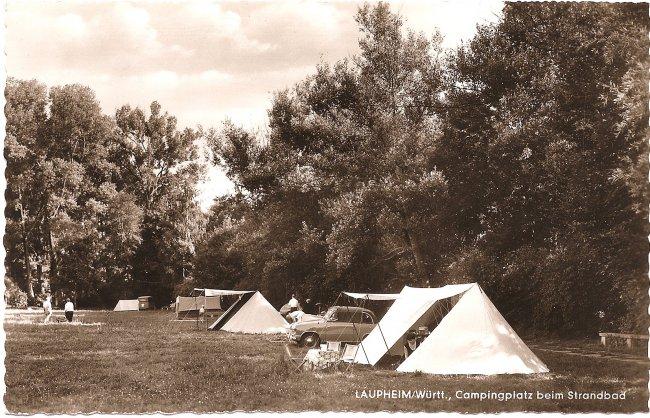 Laupheim/Württ., Campingplatz beim Strandbad (Vorderseite der Ansichtskarte)