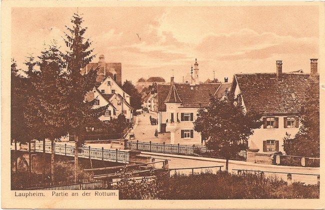 Laupheim, Partie an der Rottum (Vorderseite der Ansichtskarte)
