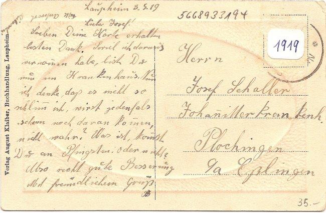 Laupheim, Teilansicht (Rückseite der Ansichtskarte)