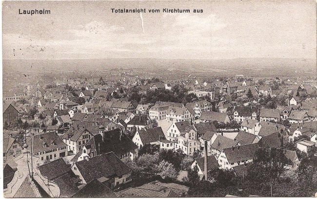 Laupheim, Totalansicht vom Kirchturm aus (Vorderseite der Ansichtskarte)