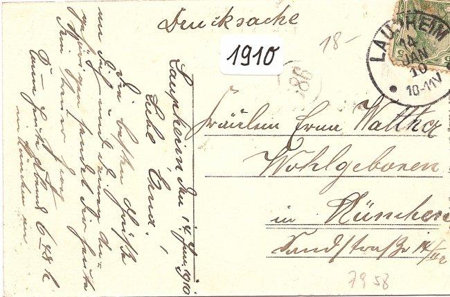 Laupheim, Totalansicht vom Kirchturm aus (Rückseite der Ansichtskarte)