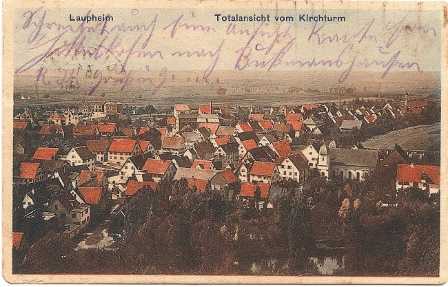 Laupheim, Totalansicht vom Kirchturm (Vorderseite der Ansichtskarte)