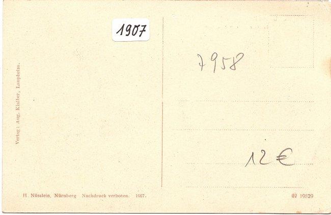 Laupheim, Totalansicht vom Kirchturm (Rückseite der Ansichtskarte)
