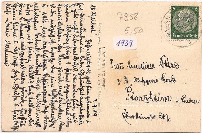 Laupheim, Orig. Fliegeraufnahme (Rückseite der Ansichtskarte)