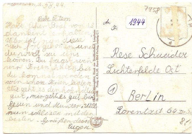 Laupheim (Wttbg.), Orig. Fliegeraufnahme (Rückseite der Ansichtskarte)