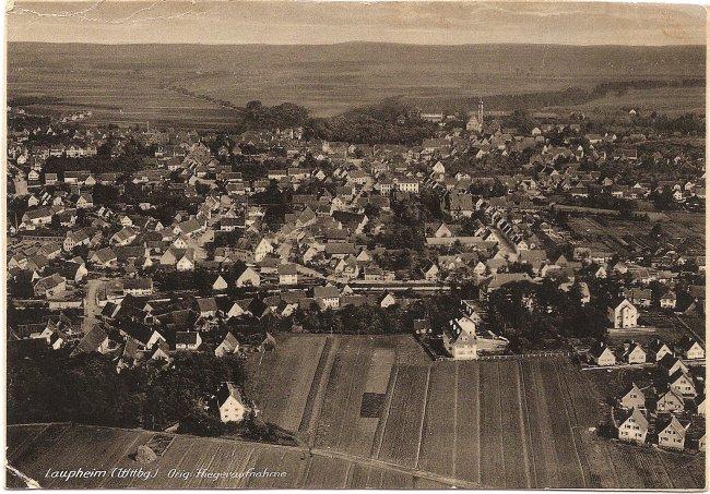 Laupheim (Wttbg.), Orig. Fliegeraufnahme (Vorderseite der Ansichtskarte)